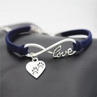 Wholesale love costume men resale online - Dark Navy Leather Suede Infinity Love Heart Animal Puppy Dog Claw Paw Cuff Charm Bracelets Bangles Fashion Women Men Costume Jewelry Gifts