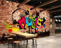 Wholesale urban art paintings resale online - Custom D murals urban music art graffiti brick wall painting wallpaper home decoration living room sofa background wall Home Decoration