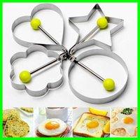 ingrosso anelli a forma di cuore a forma di cuore-304 cucina in acciaio inox friggitrice per uova stampi frittella uovo anelli fritti con tondo / stella / fiore / a forma di cuore