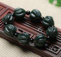 hombres de pulsera de jade negro al por mayor-Venta al por mayor Xinjiang Hetian Black Sapphire Walnut Bracelet Jade Fortune Walnut Bracelet Hombres y mujeres pareja pulsera