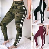 Wholesale yoga pant legging black online - Camouflage Striped Legging Women Sports Yoga Workout Side Striped High Waist Slim Fitness Athletic Skinny Pants OOA6521