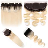 karanlık sarışın vücut dalga saç toptan satış-MEYA 1B 613 Platin Sarışın Koyu Kök ile 4x4 dantel Kapatma 4x13 Kulağa Dantel Frontal Düz Vücut Dalga Brezilyalı İnsan Saç