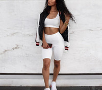 frauen trainingsanzüge schwitzt großhandel-2 Stück Set Frauen Crop Tops und Biker Shorts Sweat Suits Sexy Club Outfits Zweiteilige Lässige Trainingsanzug Passende Sets