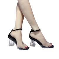 Wholesale wedding shoes sandals crystal heels for sale - 2019 Pvc Women Open Toe Sandals Super High Heels Waterproof Female Transparent Crystal Wedding Shoes Sandalia Feminina