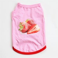 Wholesale soft strawberry pet dog cat resale online - 2019 Summer Breathable Dogs Vests Soft Cotton Pets Clothes Candy Color Printed Strawberry Cats Use Fashion Style Pet Products