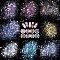 nagellack gemischte farben großhandel-8 farben nail art glitter pailletten gemischte form flocken uv gelpoliermittel funkelnden pulver staub 3d diy charme dekorationen