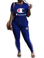 длинная женская спортивная одежда оптовых-Женщины чемпионы футболки спортивный костюм шею Майка топы + длинные брюки 2 шт. спортивная плюс размер письмо наряд спортивный Бегун набор B3293