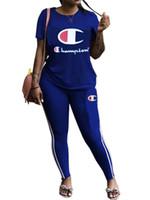 en iyi spor jogger pantolon toptan satış-Kadın Şampiyonlar Tişörtleri Eşofman Yuvarlak Boyun T gömlek Tops + Uzun Pantolon 2 Parça Spor Artı boyutu Mektup Kıyafet Spor Jogging Yapan Set B3293