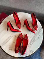 vestido de casamento de navio de caixa venda por atacado-Desinger RV vestir sapato prom Banquete Wedding Party Womens Shoes apontou dedos bling stilettos Salto com fivela size33-40 com caixa navio livre