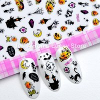 Wholesale nail art stickers halloween for sale - Group buy 4PCS self adhesive Halloween nail sticker decals for nail art decorations fake nails accessoires ghost Pumpkin head F255