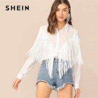 paçavra gömleği toptan satış-Shein Chevron Fringe Trim Kadın Gömlek Bayanlar 2019 Uzun Kollu Pat İlkbahar Yaz Beyaz Bluz Casual Katı Shirt