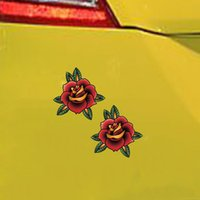 ingrosso vinile arancione rosso-2X Per Flower Rose Red Orange Sticker Tattoo Art Sailor Fun Bumper Accessori in vinile