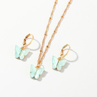 Wholesale fashion earrings for girls resale online - 2020 Butterfly Pendant Necklaces And Earrings Set For Women Girls Fashion Pink Gold Necklace Elegant Choker Fashion Sweet Jewelry Gift