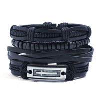 кожа хиппи оптовых-4pcs/set hippie punk all black leather band cross tag charm wood  cord knots wrap wide stackable Bracelets Bangles for man
