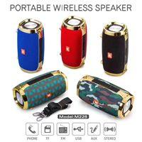 caja de música usb mp3 al por mayor-M228 Altavoces Bluetooth con correa Altavoz portátil al aire libre Estéreo de alta fidelidad, caja de sonido con micrófono Manos libres para teléfono TF USB Reproductor de música MP3