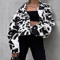 beyaz ceket kadınlar düşmek toptan satış-Hayvan Baskı Denim Ceket Kadınlar Siyah Beyaz Coat Kısa Uzun Kollu Düğme Jeans Mahsul Ceket Bayanlar Kış Fall Cepler