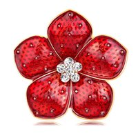 Wholesale uk brooch resale online - New big Poppy flower Brooches UK Badge Remebrance Day Gift Gold Tone Red Rhinestone Poppy Flower Brooch DHL