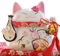 tirelires chat chanceux achat en gros de-Lucky Cat or ornements en céramique véritable japonais Lucky Cat grand cochon tirelire cadeaux d'affaires