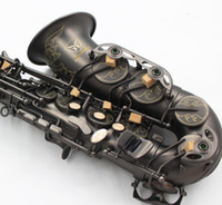 Wholesale hand carved plate resale online - Hand Carved Flowers Black Nickel Plated Saxophone Alto Brass Music Instruments Eb Tune Sax With Case And Mouthpiece Gloves