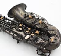 instruments de musique achat en gros de-Main Sculpté Fleurs Nickel Noir Plaqué Saxophone Alto Laiton Instruments De Musique Eb Tune Sax Avec Gants Etui Et Embouchure