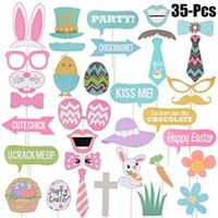 Wholesale decor dress for sale - 35pcs Easter Photo Props Egg Rabbit Basket Photographing Dress up Acessories DIY Party Decor Wedding Birthday Fun Supply FFA1524