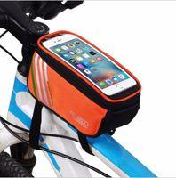 bisiklet için çanta tutacağı toptan satış-Bisiklet Çanta Bisiklet Bisiklet Çerçeve 5.7 inç Dokunmatik Ekran Telefon Tutucu Çerçeve Tüp Saklama Çantası MTB Yol Bisikleti Kılıfı