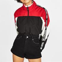 uzun batı ceketi toptan satış-İlkbahar sonbahar batı tarzı moda kontrast renk baskı mektuplar uzun kollu SM L XL XXL 2 renkler kadın Rahat kısa ceket