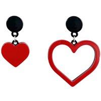 brincos de acrílico vermelho venda por atacado-Coração em forma de acrílico em forma de brincos de senhora assimétrica vermelho doce