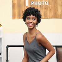 señoras peinados cortos y rizados al por mayor-Precio de fábrica 1 unid Mujeres Moda Señora Negro Corto Frontal Rizado Peinado Pelucas Para Mujeres Cosplay Pelucas Stand Hot Jan8