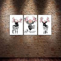 moderne lackierrahmen großhandel-3 STÜCKE Gerahmte Wandkunst Blume Hirsch Elch Moderne Wandkunst Bilder für Wohnzimmer Dekor Poster und Drucke Leinwand Malerei