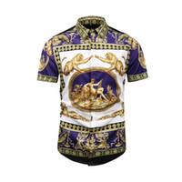 шорты для мужчин с леопардовым принтом оптовых-Верхняя рубашка с короткими рукавами 2019 года Медуза дизайнер рубашка поло Хай-стрит вышивка леопардовым принтом мужская рубашка костюм