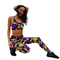 верхний верх костюма оптовых-Этика женщины спортивные костюмы кроп топы брюки 2 шт. дизайнерские костюмы Slim Fit спортивная йога одежда наборы
