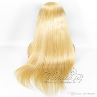 Wholesale quality brazilian hair silk wigs for sale - Group buy Super Quality Russian Cuticle Aligned Raw Virgin blonde Straight Wave Hair Transparent Silk Top Full Lace Wig Brazilian Human Hair Wigs