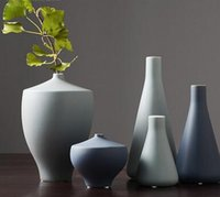 vasos de mesa chinesa venda por atacado-Moderna decoração de vaso de cerâmica americana chinesa Nordic sala de estar mesa de jantar decoração de flores