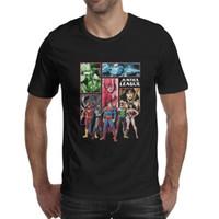 chemises superman super achat en gros de-Green Lantern League Superman Batman Flash Wonder Woman Femme Green Lantern T-shirt noir Chemises Sur Mesure T-shirts Drôle Impression Super-héros Qui