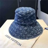 chapéus denim mulheres venda por atacado-2019 O Novo Estilo Denim fabricColor Bucket Hat Pescador Chapéu de viagem ao ar livre Cap Chapéus de Sol para As Mulheres