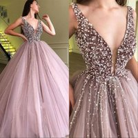 Wholesale royal blue prom dresses online - Charming Deep V Neck Ball Gown Prom Party Dresses With Sequined and Pearl Tulle Skirt Pageant Gown Floor Length Evening Gowns
