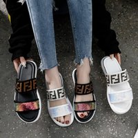 Wholesale girl flowers flat for sale - F Letter Sandals Girl Sequin Sandal Women PU Slippers Leather Embroidery Letter Flats Sandals Summer Beach Slippers GGA2038