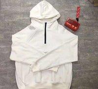 zip de manga comprida branca preta venda por atacado-FOG Essentials Meia Pulôver Com Capuz Moletom Com Capuz Camisolas Justin Bieber Manga Longa Sólida Preto Branco Moletons S-XL
