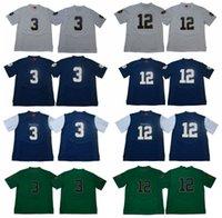 2892b61a9  3 Joe Montana Notre Dame Fighting Irish 12 Ian Book College Football  Jerseys Blue White Green Free Shipping Size S to 3XL