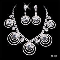 Wholesale women party jewelry set online - 2019 Shiny Sets Earring Crystal Wedding Bridal Round Necklace Fashion Bride Jewel Sets Evening Party Jewelry