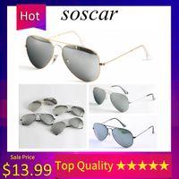 óculos de sol piloto mercúrio venda por atacado-Clássico Óculos De Sol Piloto Soscar Prata Lentes De Mercúrio Óculos De Sol Óculos de Armação De Metal Da Marca Designer de Óculos De Sol para Homens Mulheres de Condução Gafas de sol
