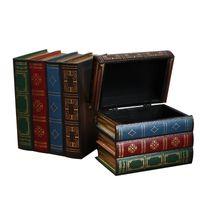 Wholesale vintage wood desk resale online - Creative Vintage Wooden Books Shape Storage Boxes Jewelry Box Ornaments Retro Desk Storage Miniature Home Decoration Craft Gifts J190713