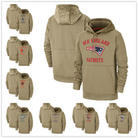 ingrosso calcio jersey hoodie-Uomo Orso gioventù donne capo Ram 49er gigante Brown Patriot Seahawk Packer Tan 2019 Salute to Servizio Sideline Therma Pullover con cappuccio Maglie