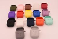ingrosso imballaggio al dettaglio antipolvere-17colors per AirPods Custodia antiurto protettiva custodia in silicone con anti-perso cinghia confezione antipolvere confezione al dettaglio per Apple Bluetooth auricolare