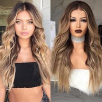 Wholesale perfect long hair resale online - 26 quot Fashion Body Wave Long Hair wig Gradient Perfect Cosplay Synthetic Wig Sexy Ombre Mixed Color Hair Style Role playing Party Wigs