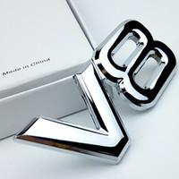 3d etiket toyota toptan satış-3D Metal V8 Araba Sticker Mektup Amblem Rozet Çıkartmalar Arabalar Logo Çıkartması Gümüş Oto Araba Aksesuarları için Toyota