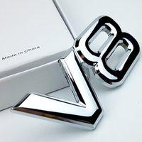ingrosso decalcomanie di badge toyota-Adesivo per auto 3D in metallo V8 Lettera Emblema Distintivo Adesivi Automobili Logo Decal Argento Accessori auto auto per Toyota