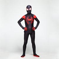 kahraman üniforma toptan satış-2019 Cadılar Bayramı Süper Kahraman Örümcek Adam Kostüm İnce Üniformalar Cosplay Tayt Parti Giyim Bodysuit Uzun Kollu Spandex Boyut S-XL