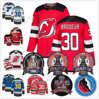 Wholesale man blue hoody resale online - Martin Brodeur Jersey With Stanley Cup Hall Of Fame Patch New Jersey Devils St Louis Blues Jerseys Hoody